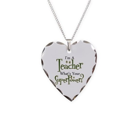 Super Teacher Necklace Heart Charm