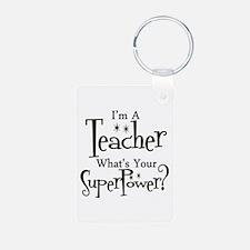 Super Teacher Aluminum Photo Keychain