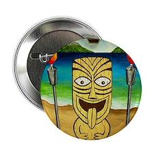 """Kona Tiki with Tiki Torches 2.25"""" Button"""