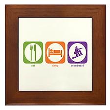 Eat Sleep Snowboard Framed Tile