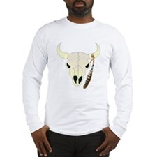 Cow Skull with Feather Long Sleeve T-Shirt
