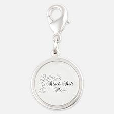 Floral Black Belt Mom Silver Round Charm