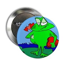 """Frog with Valentine Flowers and Candy 2.25"""" Button"""
