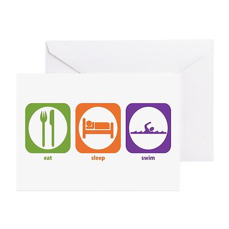 Eat Sleep Swim Greeting Cards (Pk of 10)
