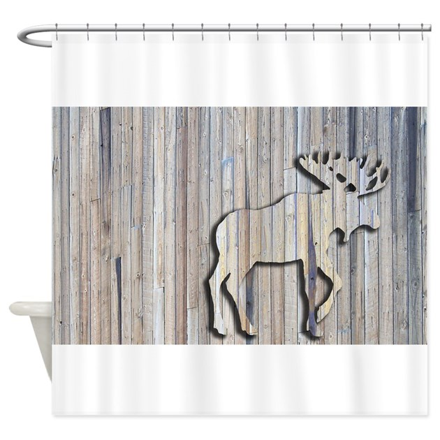 WoodenMooseRug Shower Curtain By Musicalartworks