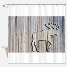 WoodenMooseRug.png Shower Curtain