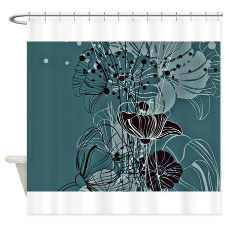 Dark Teal Floral Shower Curtain By Ibeleiveimages