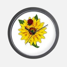 Mosaic Sunflower with Lady Bug Wall Clock