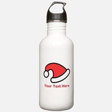 Santa Hat Picture and Text. Water Bottle