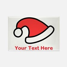 Santa Hat Picture and Text. Rectangle Magnet (10 p