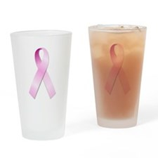 Breast Cancer Awareness Pink Ribbon Drinking Glass