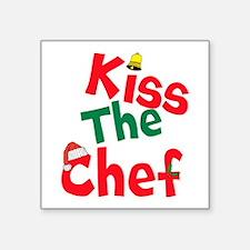 """Kiss The Chef Square Sticker 3"""" x 3"""""""