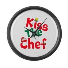 Kiss The Chef Large Wall Clock
