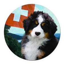 Swiss Berner Puppy Round Car Magnet