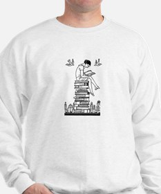 Reading Girl atop books Jumper