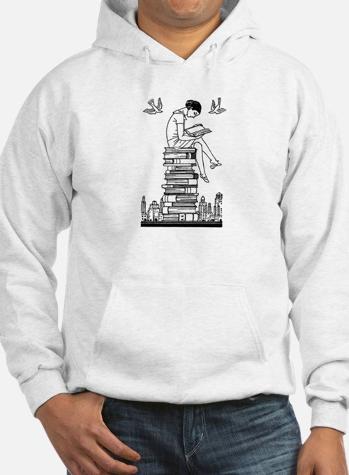 Reading Girl atop books Hoodie