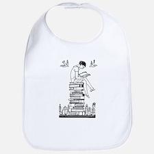 Reading Girl atop books Bib
