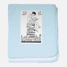 Reading Girl atop books baby blanket