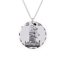 Reading Girl atop books Necklace
