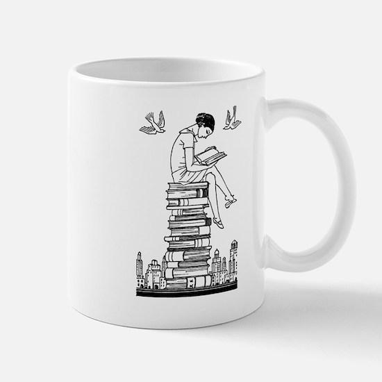 Reading Girl atop books Mug