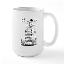 Reading Girl atop books Ceramic Mugs