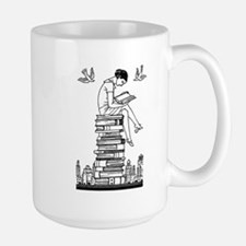 Reading Girl atop books Large Mug