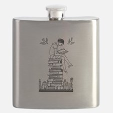 Reading Girl atop books Flask