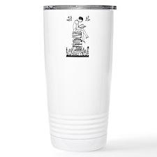 Reading Girl atop books Travel Mug