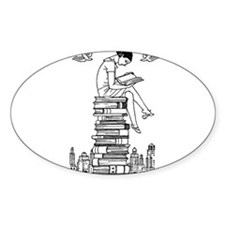 Reading Girl atop books Decal