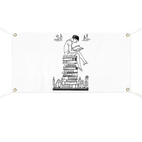 Reading Girl atop books Banner