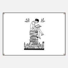 Reading Girl atop books Banner
