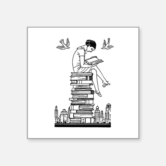 "Reading Girl atop books Square Sticker 3"" x 3"""