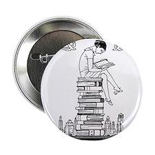 """Reading Girl atop books 2.25"""" Button"""