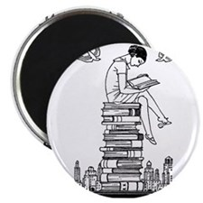 Reading Girl atop books Magnet
