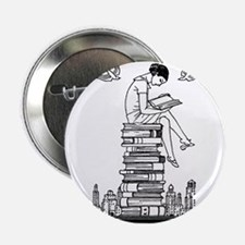 "Reading Girl atop books 2.25"" Button (10 pack)"