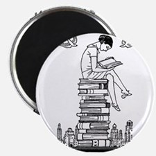 """Reading Girl atop books 2.25"""" Magnet (10 pack)"""