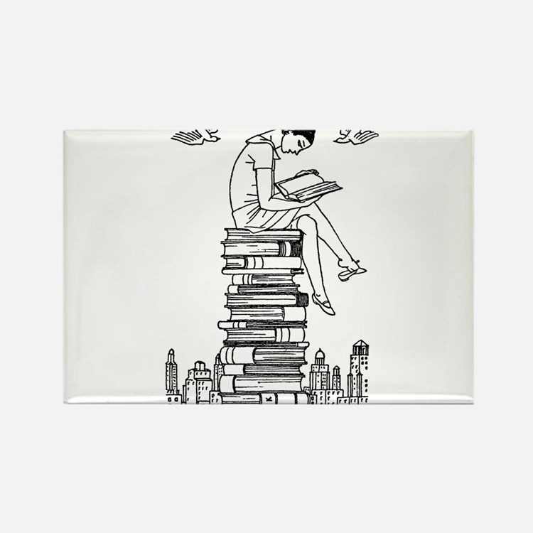 Reading Girl atop books Rectangle Magnet