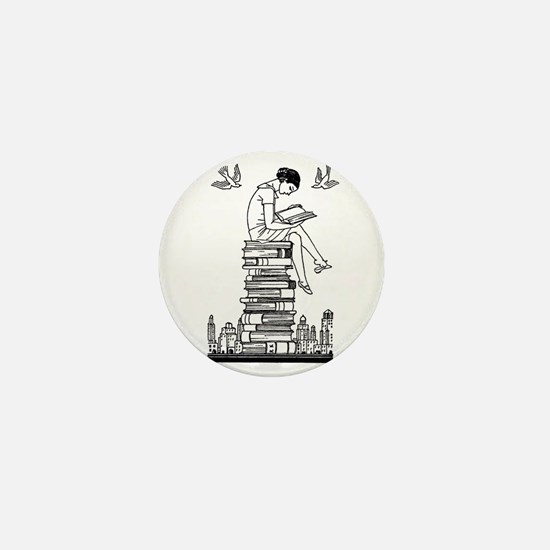 Reading Girl atop books Mini Button