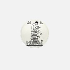 Reading Girl atop books Mini Button (10 pack)