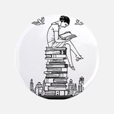 "Reading Girl atop books 3.5"" Button"