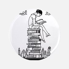 "Reading Girl atop books 3.5"" Button (100 pack)"