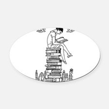 Reading Girl atop books Oval Car Magnet
