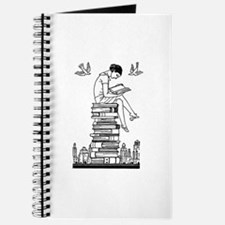 Reading Girl atop books Journal