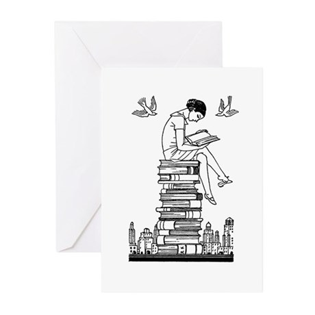 Reading Girl atop books Greeting Cards (Pk of 20)