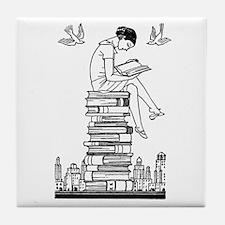 Reading Girl atop books Tile Coaster
