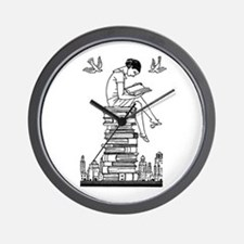 Reading Girl atop books Wall Clock