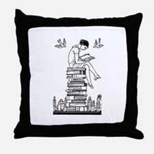 Reading Girl atop books Throw Pillow