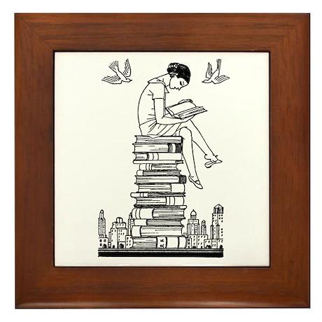 Reading Girl atop books Framed Tile