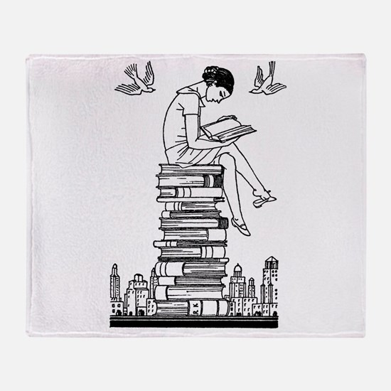 Reading Girl atop books Throw Blanket