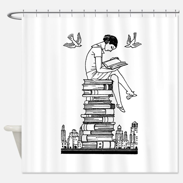 Reading Girl atop books Shower Curtain
